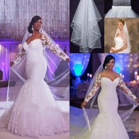 Discount backless wedding dress veils - 2017 Vintage Long Sleeves Mermaid Wedding Dresses Arabic Beads Lace Appliques Bridal Gowns Backless Lace Up Wedding Dresses Free Veil