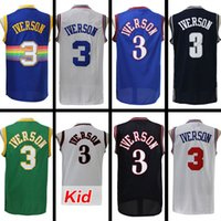 split sell - best selling Allen Iverson Jersey Allen Iverson White Black Red Rainbow Blue Split Anniversary Jersey Embroider Logo