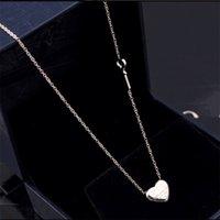 Wholesale Heart Shaped Key Necklace - Wholesale wholesale forever titanium Love Heart Key Necklace 18K rose gold heart-shaped Key Necklace