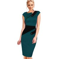 Wholesale womens pink tunic resale online - New Fashion Womens Vintage Rockabilly Elegant Cap Sleeve Wear To Work Business Casual Tunic Bodycon Sheath Pencil Dress