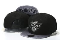 Wholesale Leather Gold Snapback - top Sale Men's Los Angeles Kings Snapback Hat Team Logo Embroidery Sports Adjustable LA Hockey Caps Vintage Leather Visor Strap back Hat