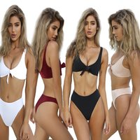 Wholesale America Swimsuit - 2017 Summer Europe and America Sexy Double Wrapped Chest Two Sets of Beach Swimsuit Bikini Swimwear Women