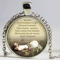 Wholesale Necklaces Hundreds - EMILY DICKINSON Quote After A Hundred Years....necklace Quote Glass Pendant Literary Quote Handmade Pendant Literary Jewelry
