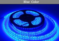 metros de pegamento al por mayor-Al por mayor-LED luz 2835 azul DC12V 5M 60led = 1 metros 300led = 5 metros = 1roll 3led = 1 tijera Flexible Glue impermeable IP65 llevó la tira 2835