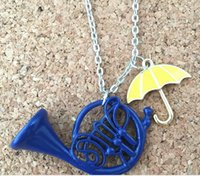 Wholesale French Horn Necklace - How I Met Your Mother Umbrella Yellow Blue French Horn Pendant Necklace For Mom Party Cosplay Mother True Love Jewelry Gift