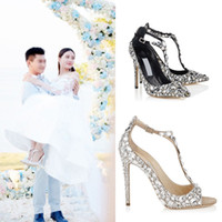 ingrosso scarpe gioiellate-Diamond Wedding Shoe peep open toe pumps gioiello tacco alto Sandali gladiatore donna strass cristallo impreziosito T Strap Summer Party Shoes