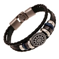 Wholesale Mens Woven Leather Bracelets - Lover's Leather Bracelet Fashion Leather Woven Sunflower Charms Cuff Bracelet Bangles for Women Mens Punk Jewelry