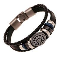 Wholesale Mens Weave Bracelet Leather - Lover's Leather Bracelet Fashion Leather Woven Sunflower Charms Cuff Bracelet Bangles for Women Mens Punk Jewelry