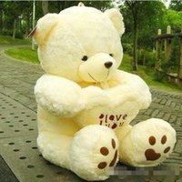 Wholesale Soft Teddy Bears Wholesalers - I LOVEYOU White Color Teddy Bear Cute Stuffed Bear Toys Soft Plush Doll Boyds Bear 50cm 70cm 90cm,110cm Height