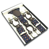 Wholesale Suspenders Plastic Clips - Wholesale- 6 Clip On Good Quality Adjustable 3.5 cm Suspenders Men With Plastic Card and Gift Box Gallus Y-back Elastic Braces Suspender