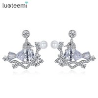 Wholesale Fairy Earrings Studs - LUOTEEMI Newest Trendy Stud Earrings Fairy Magpie Shape Cubic Zircon with Imitation Pearl Brincos For Women Party Gift Jewelry