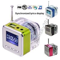 Wholesale Crystal Box Mp3 - Crystal LED Light Mini Portable Speaker Sound Box Stereo Hifi Speakers Nizhi TT-029 Loudspeaker Updated TT-028 Lyrics Display FM Radio USB