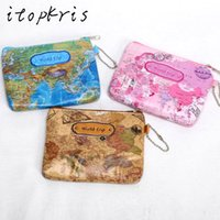 Wholesale Map Print Bags - Wholesale- Hot sale Nylon Zipper 3D Printing Mini World Map Coin Purse Pouch Women Men Casual Zipper Card Dollar Change Bag Case
