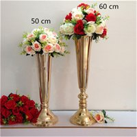 Wholesale Wholesale Metal Tables - Silver  Gold Plated Metal Table Vase Wedding Centerpiece Event road lead flower Rack Home Decoration 10 pcs  lot