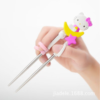 Wholesale Baby Children Tableware - Wholesale- Cartoon Hello Kitty Tableware Children Learning Training Chopsticks Spoons Baby Enlightenment Chopsticks Spoons Kids 2C