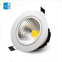 7w llevó la cáscara blanca al por mayor-X20PCS 5W 7W 9W 12W COB Led Downlight regulable Empotrable Led luz de techo White Shell Alto Lumen para luz de casa AC 110-240V