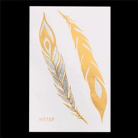 Wholesale Temporary Tattoos Gold Color - Wholesale- 1 PC Flash Gold Metallic Tattoo Color Peacock Feathers Drawing HT107 Temporary Women Hair Sleeve Body Art Tattoo Sticker Designs