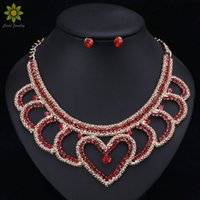 red heart shape earrings jewelry 2021 - African Beads Jewelry Sets Trendy Necklace With Earring Silver Metal Choker Red Crystal Heart Shaped Necklace Earrings For Women