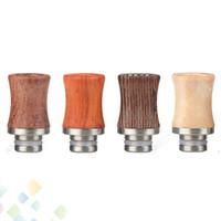 ingrosso atomizzatore a goccia-Nuovo tipo legno bocchino punta a goccia in acciaio inox legnoso per sigaretta elettronica 510 serbatoio atomizzatore dhl gratuito