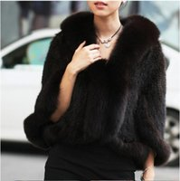 Wholesale Real Fur Trimmed Coats Women - Wholesale- HARPPIHOP New Genuine Knit Mink Fur Shawl Poncho With Fox Trimming Real Mink Fur Jacket Fashion Women 2016 Style Mink Fur Coat