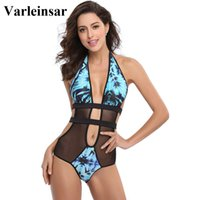 Wholesale sheer swimwear for women for sale - 2017 sheer mesh splicing sexy floral print one piece swimsuit swim suit for women swimwear female bathing suit swim wear V140H