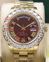 Wholesale President Ii - Factory Supplier AAA Brand Red Dial Day-Date 2 II 41MM President Yellow Gold Bigger Diamond Bezel Automatic Mechanical Mens Watch Watches