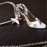 Wholesale Wholesale Glass Slippers - 20pcs Cinderella Glass Slipper Necklace