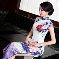Wholesale Elegant Qipao - Women traditional casual dress print peony Short Sleeve split stand collar Long Qipao silk Dress elegant Chinese Clothing