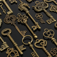 Wholesale Looking For Keys - Wholesale- 1 set of 69 vintage Retro old look keys pendant alloy special DIY jewelry accessories for necklaces bracelets anklets