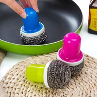 Manico in acciaio inox Cleanning Ball Dishes Brush Pan Scourer Bowl Cleaner Eco Friendly Gadget da cucina