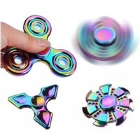 Wholesale Fire Fingers - EDC Rainbow Finger Spinner Gyro Fire Wheel HandspinnerColorful Anti-Anxiety ADHD EDC Hand Fidget Toy Metal Aluminium Alloy