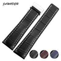 Wholesale Crocodile Watchband - JAWODER Watchband 22mm 24mm Black Brown Blue Crocodile Lines Genuine Leather Watch Strap with Clasp for B-R-E 718P 732P 760P 739P 443A