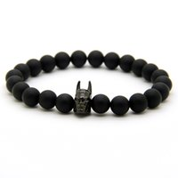 Roman Knight Hero Beads Com Matte Agate Stone Onyx Stone Bracelet Fine Men Women Charms Jóias
