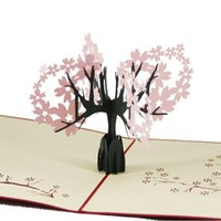 Wholesale cherry blossom papers - (10 pieces lot)Creative 3D Paper Cutting Stereo Birthday Card The Cherry Blossom Carving Paper Greeting Cards Free Shipping