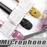 Wholesale Cell Phone Horn - Q9 Bluetooth wireless Microphone Portable Handheld Wireless KTV Karaoke Player Dual Horns Loudspeaker Speaker For iPhone X 8 Plus Samsung