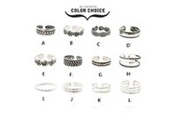 Wholesale Open Diamond Ring Flower - 12Pcs Set Mix Celebrity Fashion Summer Retro Carved Flower Adjustable Foot Rings For Women Open Toe Ring Jewelry