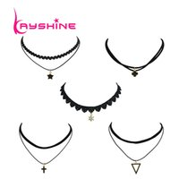 Wholesale Triangle Shaped Necklace - 5 Pcs Set Punk Rock Style Black Lace Rope With Multi Layer Chain Star Cross Triangle Shape Choker Necklace For Women