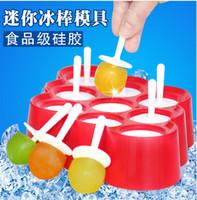 eiscreme-lachsformen groihandel-Eis Lolly Mold Silikon Mini Eis Pops Mold Cream Ball Maker Popsicle Formen Mit 9 Hohlraum DIY Küchenhelfer 15zc J R
