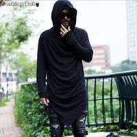 Wholesale Night Shirt Men - Wholesale- Brand Men's Unique Designer Hooded T-shirt Long Sleeve Fashion Casual Costume Night Club Summer Tee shirts Quality 2016 New
