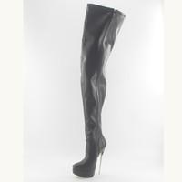 ingrosso stivali alti neri per le donne-Wonderheel caldo nero opaco 18cm tacco a spillo sexy fetish donne stivali alti alla coscia in morbida pelle piattaforma moda biforcazione stivali
