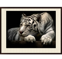 Wholesale Painting Tigers - 5D DIY Animal White Tiger Full of Diamond Painting Cross Stitch Kits Over drilling Home Decoration