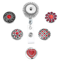 10 estilos Charm Interchangeable Chunk Snap Button ID Badge Reel Holder com clip Backin Retractable Badge Holder N168S
