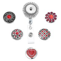 10 Styles Charm Interchangeable Chunk Snap Button ID Badge Reel Holder avec Clip Backin Retractable Badge Holder N168S