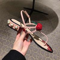 peindre les chaussures en cuir talons achat en gros de-Cuir chevelu thong gladiateur sandales femmes verre perle talons cloutés tongs peints ongles plage diapositives cheville sangle chaussures plates