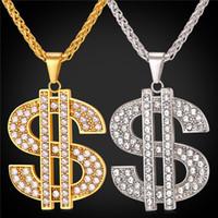 ingrosso grande collana della catena della corda dell'oro-New Hip-Hop gioielli grande strass americano Dollaro Collana pendente Trendy 18K placcato oro catena di corda di colore per gli uomini / donne