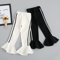 Wholesale Korean Brand Boots - Everweekend Girls Ruffles Boot Cut Cute Baby White and Black Color Pants Lovely Kids Korean Fashion Autumn Cotton Pants
