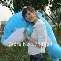 Wholesale Plush Toys Dolphin - Wholesale- 2015 Super! 100cm A lovely big dolphin plush toy pillow to send his girlfriend a birthday gift free shipping
