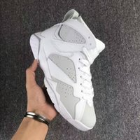 Barato Sapatos De Couro Branco E Puro-2017 novo holesale DS Air Retro 7 PURE MONEY Men Basquete Shoes Branco Metallic Silver Real Leather Sneakers Com Original Box Big