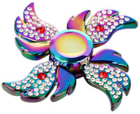 Wholesale Wholesale Adult Wings - Rainbow Angel Wings Diamond Fidget Hand Spinner Puzzle Gyro Toy Floral Time Killer EDC Focus Finger Spinner For Kids Adult ADHD Autism