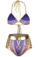 Wholesale Metallic Blue Bikini - Mtmaiten New 2017 Sexy African golden Tribal Metallic Cutout High Waist Swimsuit maillot de bain two pieces swimwear